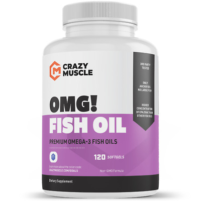 Crazy Muscle® Omega 3 Fish Oils Supplements: NO Fishy Burps (100% Anchovies) ✅ ✅