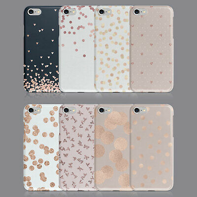 Hearts Polka Dots Rose Gold Phone Case For Iphone 7 8 Xs Xr Samsung S8 S9 Plus