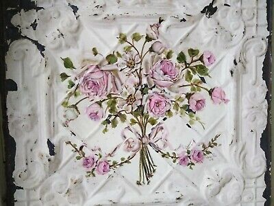 OMG Original Pink Rose Painting Shabby Chic Antique Ceiling Tin Bouquet Garland