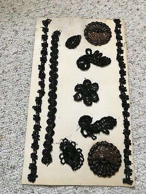 Antique Victorian Glass Bead and Jet Bead Trim Pieces and Appliques