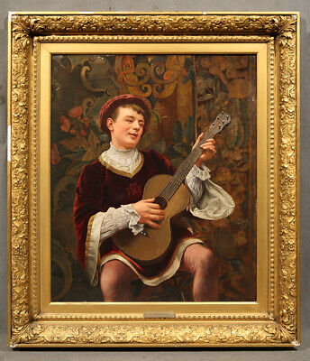 """""""The Guitar Recital in the Parlor"""" (Boy with Guitar), Oil signed G. Brightwell"""