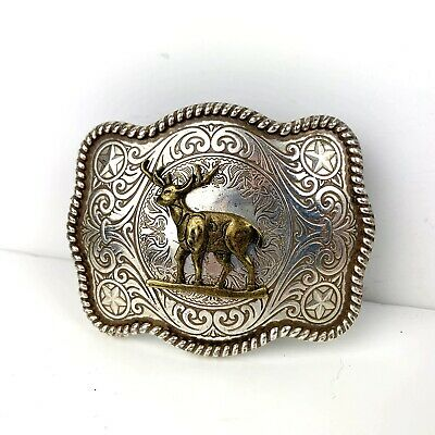 Buck Deer Belt Buckle Vintage Hunting Mens Silver Tone Cowboy