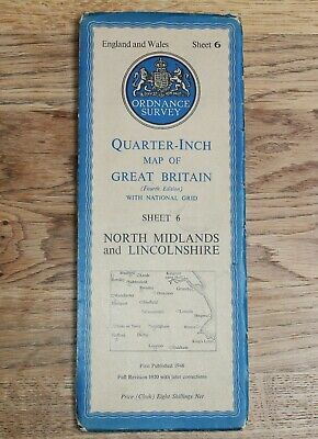 ORDNANCE SURVEY 1946 NORTH MIDLANDS LINCOLNSHIRE Map 1/4 inch to 1 mile CLOTH