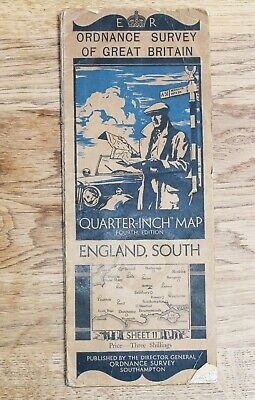 ORDNANCE SURVEY 1934 ENGLAND SOUTH Map 1/4 inch to 1 mile CLOTH Sheet 11 Vintage
