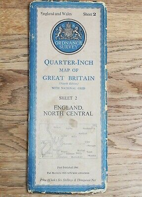 ORDNANCE SURVEY 1946 NORTH CENTRAL Map 1/4 inch to 1 mile CLOTH Sheet 2 Vintage