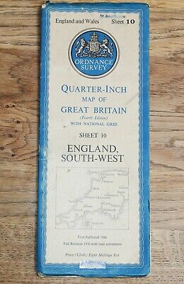 ORDNANCE SURVEY 1946 ENGLAND SOUTH-WEST Map 1/4 inch to 1 mile Sheet 10 CLOTH