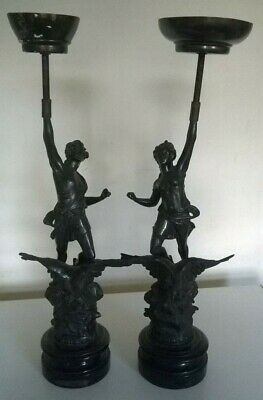 Pair of 2 Spelter Figures Le Jour & La Nuit