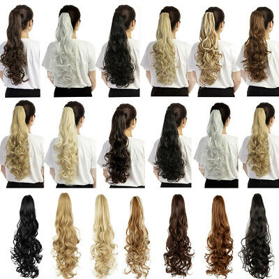 "24"" Curly Synthetic Clip in Claw Ponytail Hair Extension Long Wavy Hairpiece ZYL"