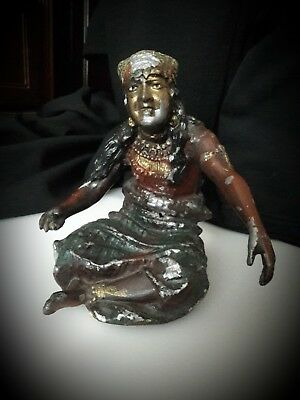 Antique Vintage Cast Metal Spelter Native GYPSY Fortune Teller Figure Sculpture