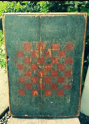 Early Primitive Wooden Civil War Era Game Board Old Soldier Blue & Red Paint