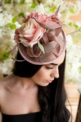 a513edf15a116 Blush/Nude Quilled Loop Vintage Flower Hat Hair Ascot Fascinator Wedding  Races