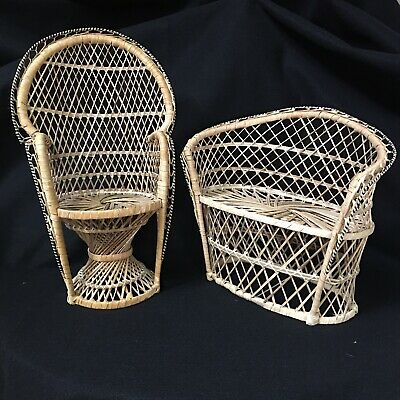 Vintage Mini Wicker Peacock Fan Back Rattan Chair & Couch Plant Stand Doll Set