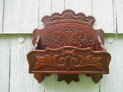 Nice Antique Primitive Carved Wood Hanging Wall Comb Box