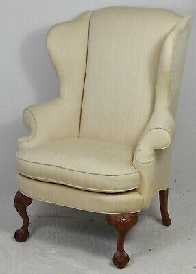 Highland House Mahogany Chippendale Wing Arm Chair Williamsburg Look Ball & Claw
