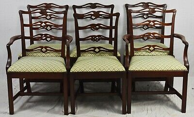 Set of 6 Mahogany Chippendale Ribbon Back Dining Chairs Williamsburg Style