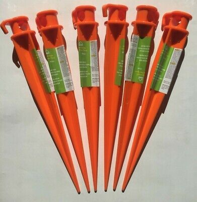 "LOT of 6 Honde 16"" Ground Stake Tent Stake High Visibility Orange FREE SHIPPING"