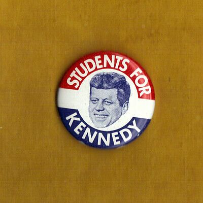 "1960 John F Kennedy 1-1/4"" / ""Students"" Presidential Campaign Button"