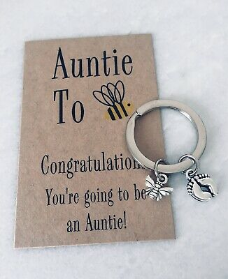 Auntie To Bee Be Baby Announcement Bee & Baby Feet Keyring Congratulations Gift
