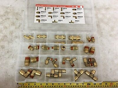 Brass Push To Connect Fitting Assortment w/ unions elbows tees PDC # BRASSQRKPTC