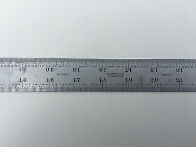 "STARRETT 36"" Long, 1/32"", 1/64"", 1/16"", 1/8"" Tempered Satin Chrome Ruler"