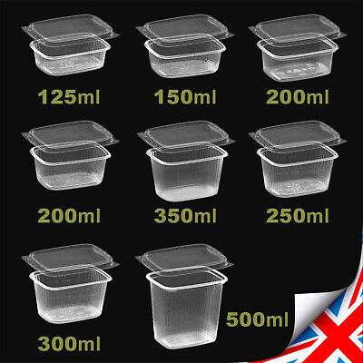 Clear RECTANGULAR FOOD CONTAINERS Plastic Storage Tubs with Lids Deli +Micro-OK
