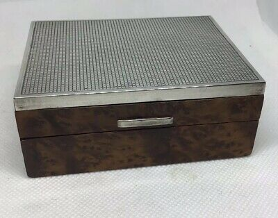 Antique Art Deco Italian Silver Wood Small Box Janetti