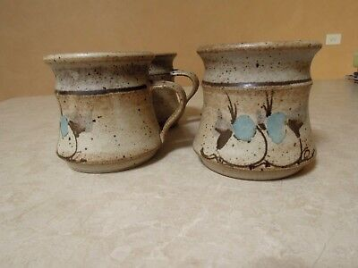 Vintage (4)  MATCHING AUSTRALIAN POTTERY MUGS  Speckled with Birds    ELUC