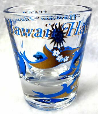 "HAWAII Shot Glass with Dolphins Shooter Goldtone Detail 2-1/4"" Jigger Libbey"