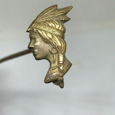 Antique/Vintage-Style Hat Pin Striking Profile of Indian Princess. Lovely One.