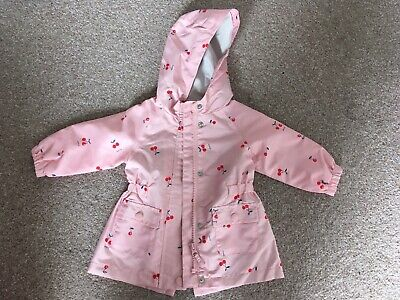 Mothercare Baby Pink Cherry Print Hooded Rain Mac Coat Size 6-9 Months Old