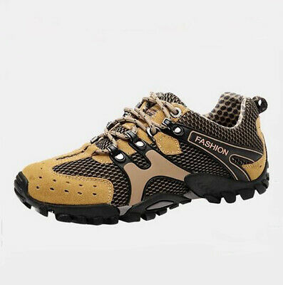 Men's Hiking Shoes Lace Up Mesh Running Sneakers Non-Slip Breathable Flat Casual