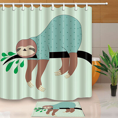Sloth Climbing a Tree in Costa Rica Rainforest Fabric Shower Curtain Liner 180cm