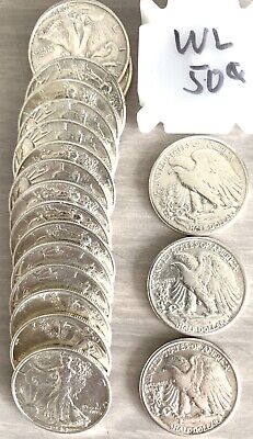 Walking Liberty Roll Uncirculated 20 Silver US Coins Different Years
