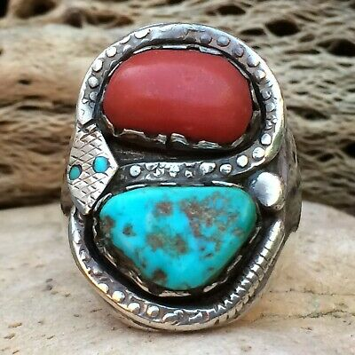 1940 Zuni Dan Simplicio Sterling Silver Turquoise Coral Snake Ring Sz 9 Old Pawn