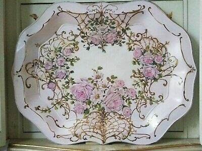 OMG Original Rose Painting Shabby Chic Pink French Gilt Vintage Toleware Tray