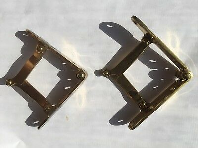 Two Brass Hinges for Drop Front  Furniture  Self Locking when Extended