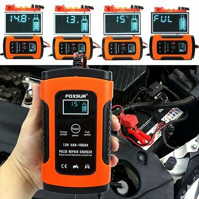 Car Battery Charger 12V 5A LCD Intelligent Autos Motorcycle Pulse Repair Version