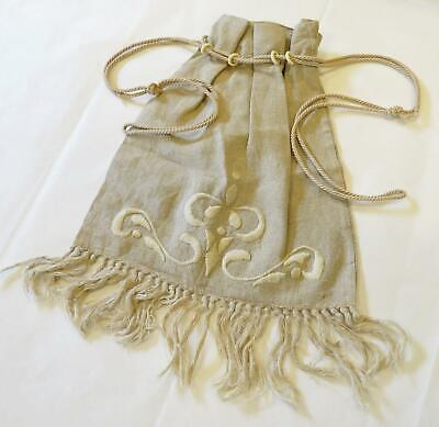 Antique Mission Arts & Crafts Style Linen Drawstring PURSEor BAG w Embroidery