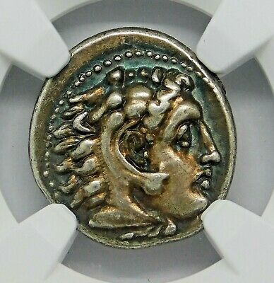NGC Ch VF. Alexander the Great. Superb Drachm. Lifetime Issue. Greek Silver Coin