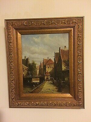 Old Master Dutch antique oil painting on board,Town dwellings 19C Signed