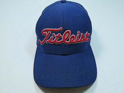 Titleist Footjoy Pro V1 Blue Red Embroidered A-Flex Fitted Cap Golf Hat Large XL
