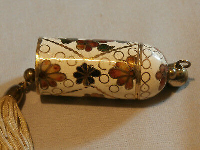 Vintage Chinese Floral Cloisonne Cylinder Pendant That Opens Keep Sake Pill Box