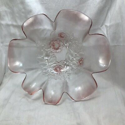 "Vintage Mikasa Walther Glas Pink Glass Rosella Bowl 10.5"" Diameter #A6"