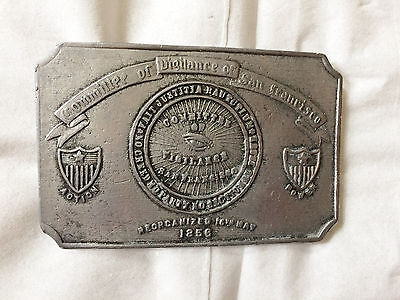 Vintage Committee of Vigilance of San Francisco Belt Buckle D-36 on the Back