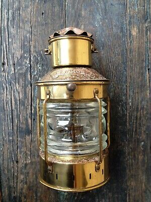Nautical Collectible Genuine Anchor Brand Maritime Copper Brass Oil Lamp Lantern