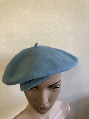 """Bakarra 100% Pure Wool Beret - Made In France, Pale Baby Blue, Size 53cm / 21"""""""
