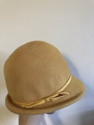 Sunshine Felt- Vintage Yellow Cloche Hat - Made In England - with Ribbon Detail