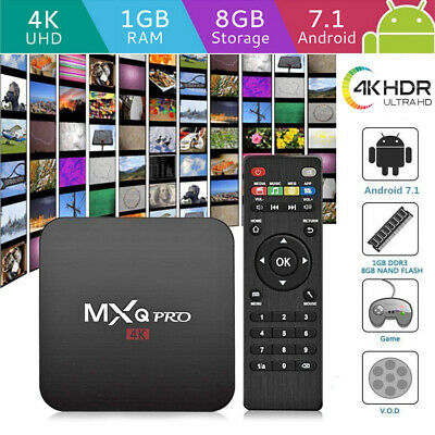 MXQ PRO Smart Android  7.1 TV Box HDMI WIFI 4K 1+8GB Media Streamer Quad Core