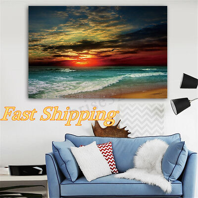 Home Decor Painting Canvas Print Wall Art Seascape Beach Picture Unframed