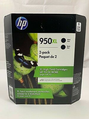 HP 950XL Black Ink Printer Cartridge Exp 12/2018 Hewlett Packard 2-PACK Genuine